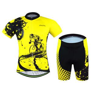 Cycling Jersey and (Bib) Shorts Suit Bike Clothing Set Men's Cycling Kit Yellow