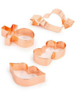 MSRP $22 Martha Stewart Set Of 4 Cookie Cutters Copper-Plated Stainless Steel