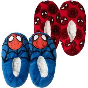 Spiderman Marvel Character Boys Kids House Slippers Socks Warm Cosy Sherpa Lined