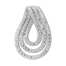 "Sterling Silver Clear Cubic Zirconia Drop Pendant,18"",CZ,LA,SPD0025"