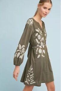 $158 Anthropologie RIYA Embroidered Peasant Dress  XS new NWT
