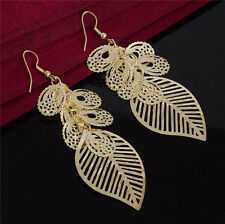 New Womens Gold Flat Leaf Flower Hook Party Earrings Drop Jewellery Gift Bag