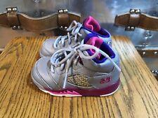 2013 Air Jordan 5 Retro Girls (Td) Cement Grey/Pink flash 440890-009 Toddler