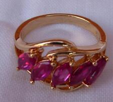 18k Yellow GF elegant Women Fashion Ring Red Ruby  - 6