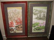 Lovely Vintage Pair Oriental Asian Scenic Cherry Blossom Framed Art Prints