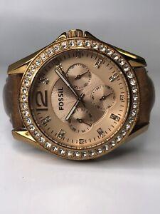 Fossil ES3363 Riley Women's Multifunction Tan Leather Analog Quartz Watch Y107