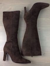 Womens Knee High Boots 9.5 Maud Frizon Suede Leather Side Zip Paris Italy Brown