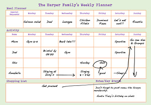 Family Household Weekly Planner A4 A3 Re-useable Wipe Clean To Do List Organiser