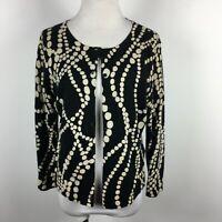Cabi M Medium Cardigan Sweater Button Up Black Cream Dot 3/4 Sleeve Cotton S#296