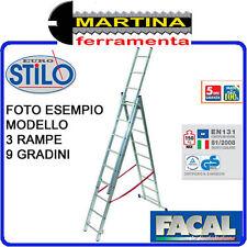 SCALA ALLUMINIO TELESCOPICA 3 RAMPE DA 11 GRADINI FACAL STILO 3,14-7,06 METRI