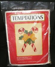 Temptations Candy Canes & Holly Wall Hanging Plastic Canvas Kit 8120 1988 J & L