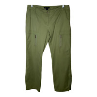 The Limited Womens Cargo Pants Chino Khakis Casual Bottoms Green Zipper Size 10