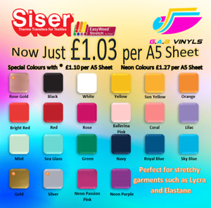 A5 sheets-Siser EasyWeed Stretch PREMIUM HTV Vinyl IRON ON/HEAT PRESS rose gold