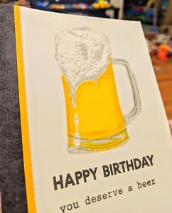 Beer Handmade Greeting Card, birthday humor party celebrate funny, 21st, man,