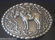 Nocona SIlver Engraved Belt Buckle Little Girl and Her Horse Youth Buckle