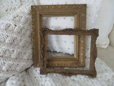 2 Beautiful Old Antique Vintage Gold Ornate Wood & Gesso Picture Frames