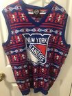 Mens NHL New York Rangers Hockey Aztec Print Ugly Christmas Sweater Vest XL NWT
