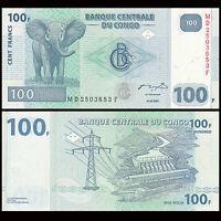 Congo 100 Francs, 2007-2013, P-98, UNC, Banknotes, Original