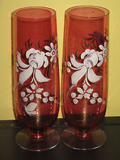 Pair Vintage Cranberry Vases White Hand Painted Flower Design