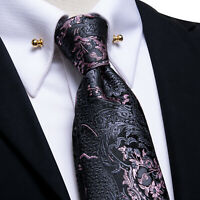 Mens Ties Silk Necktie Black Pink Novelty Paisley Floral Hanky Cufflinks Set US