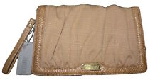 Jennifer Lopez Purse Clutch Gold Linen and Faux Snakeskin Trim JLO NWT