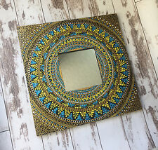 handmade mirror, unique wall mirror, small mirror, hanging mirror, mandala