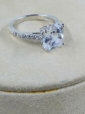 Sterling Silver Ring Cushion Cut Cubic Zirconium