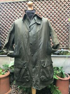 """Barbour A200 Border green wax cotton Country sporting casual jacket coat 42"""" ++"""