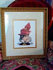 G. GONIK signed Art Print of a Victorian Woman Gold Frame
