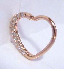 18k Rose Gold Loaded Crystal Heart Cartilage Hoop Ring Seamless 16 gauge 16g