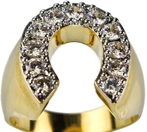 Horseshoe ring Radiant CZ Mens 18K yellow gold overlay size 11 TK717 T63