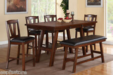 Modern 6P Dark Walnut Dining Set Counter Height Table Chairs Bench Dining Room