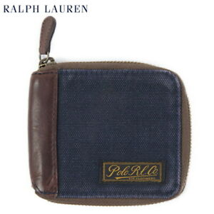 Polo Ralph Lauren Wallet Zip Canvas with Leather - Navy -