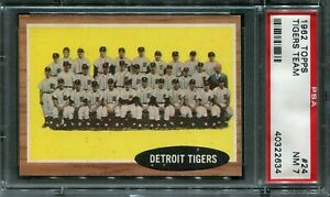 1962 Topps #24 Tigers Team Card PSA 7 NM