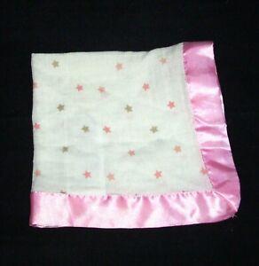 Aden + Anais Oh My Stars Issie Baby Blanket Pink Tan Satin Trim Edge
