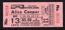 1973 Alice Cooper unused concert ticket San Diego Billion Dollar Babies Elected