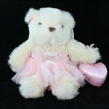 """Avon Angel Teddy Bear Plush Stuffed Animal Pink Heart Dress Wings 1998 12"""""""