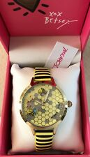 BETSEY JOHNSON Gold Watch Bumble Bee Yellow & Crystals Honey Comb Face NWT $75.