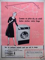 PUBLICITÉ 1960 SÉCHE LINGE PARNALL - ADVERTISING