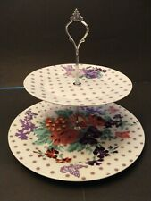 PAPERCHASE POSY FLORAL PORCELAIN 2 TIER CAKE PLATE
