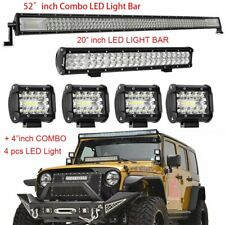 "52'' 1000W 3 Row LED Light Bar + 20"" + 4"" For Jeep Wrangler JK YJ TJ CJ LJ"