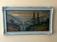 Antique Oil Painting in ReFab Light Blue Painted Antique Frame Signed La Rue 28
