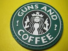 """TACTICAL MORALE PATCH """"GUNS & COFFEE"""" CIRCLE PVC RUBBER WITH HOOK BACK"""