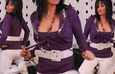 Damen Trendy Bolero Pullover Girly Pulli Pailletten silber Top 34/36/38 lila NEU