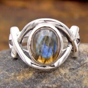 Labradorite Gemstone 925 sterling Silver Handmade Beautiful Ring Size US 7
