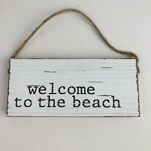 Welcome to theBbeach Wood Sign 6x3 Inch Mudpie