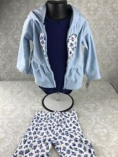 NWT Baby Girl 24 Mo Blue Floral 3 Pc Outfit Set Pants Bodysuit Hoodie Carter's