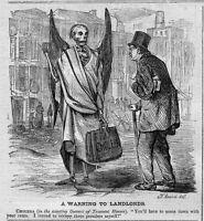 CHOLERA SKELETON WARNING TO TENEMENT HOUSE LANDLORDS CHOLERA 1866 HISTORY