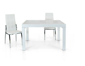 Extendable Table, Plan IN White Glass 120X90