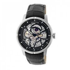 Heritor Automatic Ryder Skeleton Leather Band Watch - Black/Silver/Black HR4602